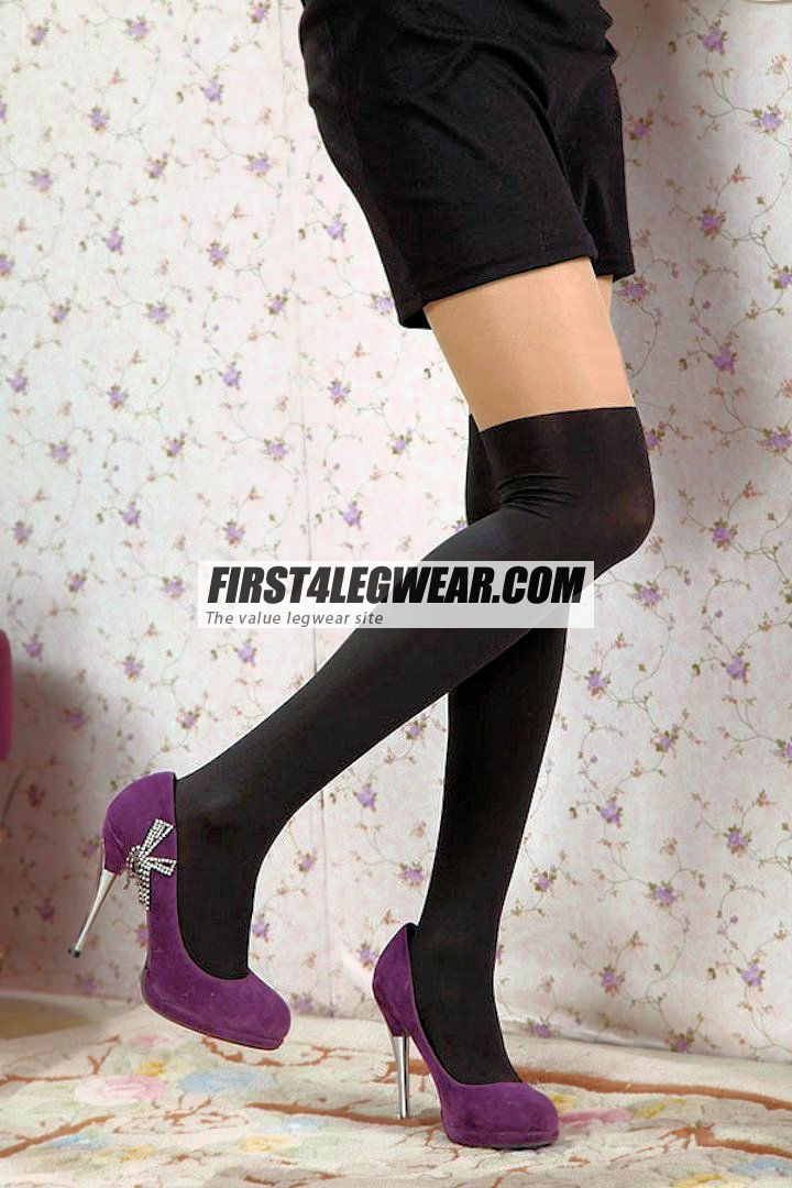 F4L 411 'Thigh-High'-look Sheer/Opaque Tights