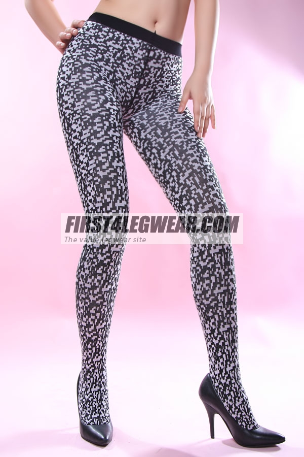 F4L 890 100D Check Tights Black/White